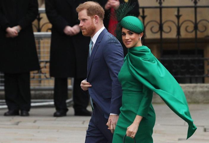 Prince Harry, Duke of Sussex (L) and Meghan, Duchess of Sussex arrive to attend the annual Commonwealth Day Service at Westminster Abbey on March 9, 2020 in London, England. (Photo by Dan Kitwood/Getty Images)