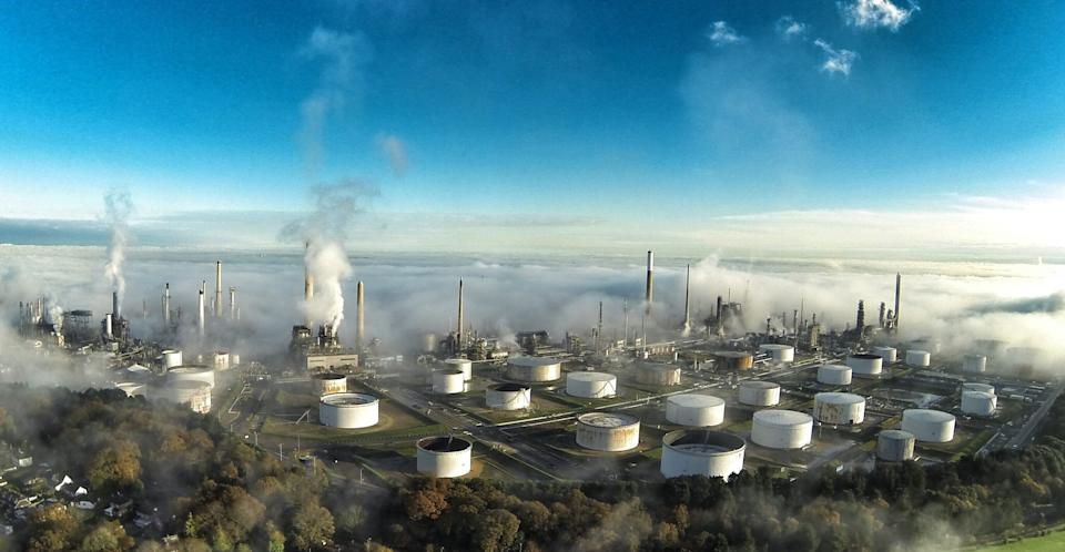 Taken in between two banks of fog in a 2 minute window. Showing the tanks and stacks of Fawley Refinery.