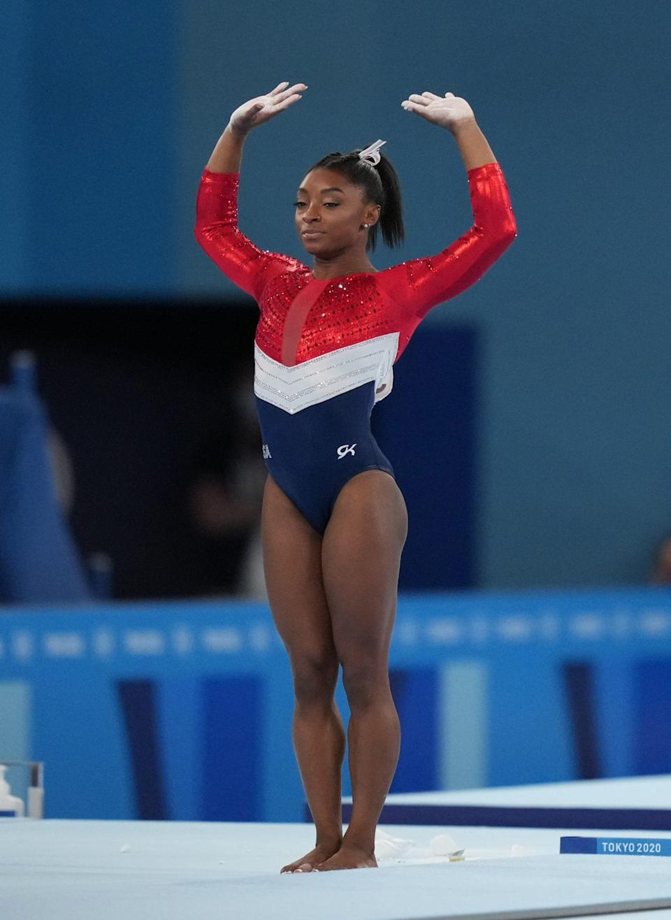 <p>On July 27, Biles unexpectedly bowed out of the women's gymnastics team all-around final after her first apparatus.</p> <p>In her opening rotation on vault, the star opted out of an expected Amanar mid-air, chose a Yurchenko one-and-a-half twist instead, and made a large hop forward on her landing.</p> <p>Afterward, Biles — who was originally set to compete on bars in the second rotation — surprised everyone by walking off the competition floor with her coach Cecile Canqueteau-Landi. Biles would return to the floor a few minutes later, without grips. She then put on her warmup ensemble.</p> <p>She was replaced by Chiles, who had mere minutes of a warning. For the three remaining apparatuses, Biles was seen cheering and supporting her teammates after telling them that she would not be moving forward in the competition.</p>