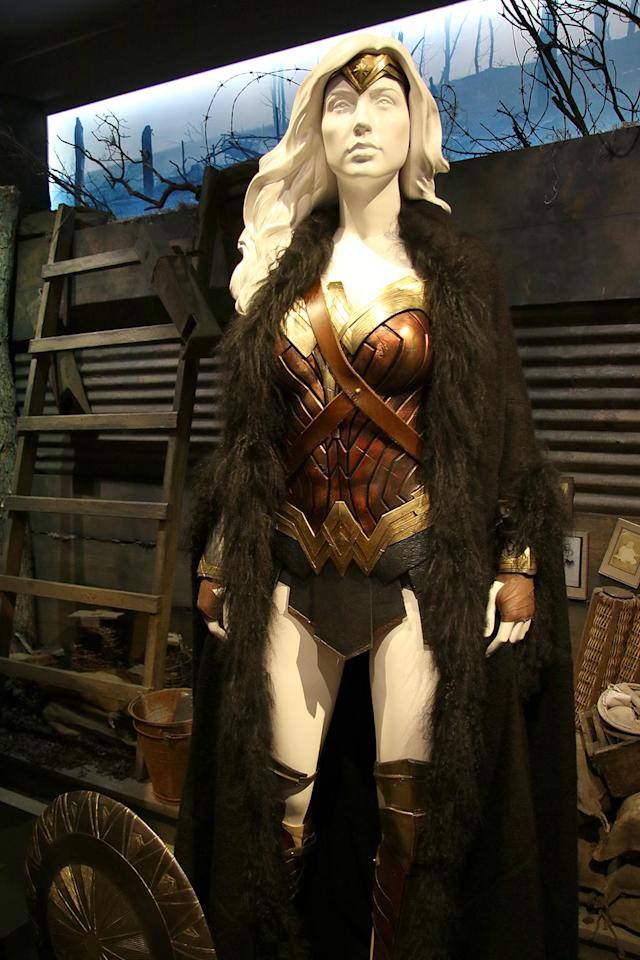 "<p><a href=""https://www.yahoo.com/movies/tagged/wonder-woman"" data-ylk=""slk:Wonder Woman"" class=""link rapid-noclick-resp"">Wonder Woman</a> is ready for action in this outfit, worn during the film's World War I scenes. (Photo: Jacob Kramer/Yahoo Movies) </p>"