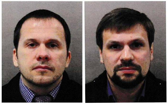 Two men using aka Alexander Petrov and Ruslan Boshirov officially accused of attempting to kill former Russian intelligence agent Sergei Scripal and his daughter Julia in Salisbury-Reuters