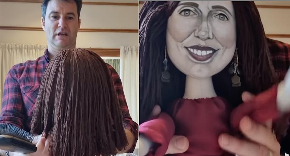 LEFT: Clarke Gaysford looking at the doll with it facing him, you can just see the brown hair. RIGHT: the doll which has a caricature version of Jacinda Ardern's face.