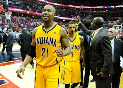David West (left) and George Hill will have to take on bigger offensive roles. (Brad Mills-USA TODAY Sports)