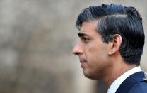 Britain's Chancellor of the Exchequer Rishi Sunak takes part in an outside broadcast interview, in London