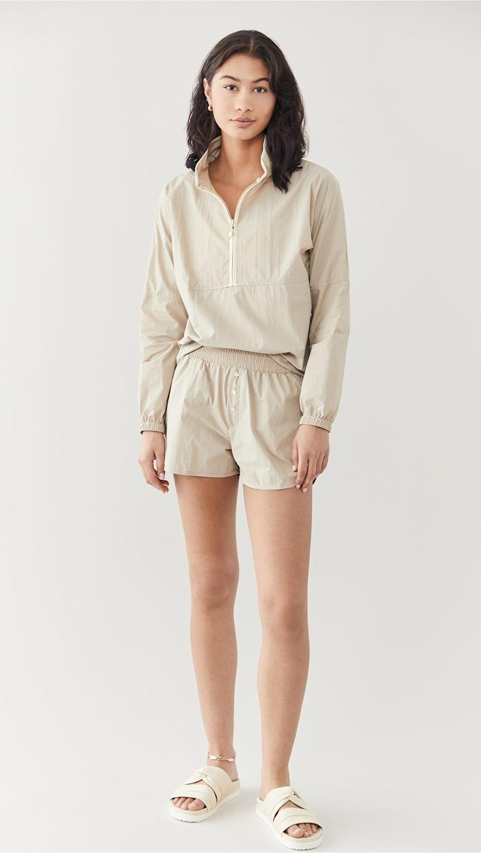 <p>If you're into tonal dressing, these lightweight <span>Donni Nylon Shorts</span> ($104) are so cute.</p>