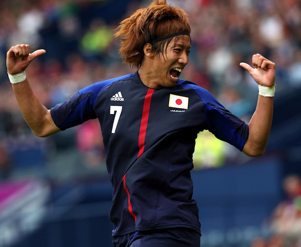 Otsu Yuki of Japan celebrates after scoring during the Men's Football first round Group D Match of the London 2012 Olympic Games between Spain and Japan , at Hampden Park on July 26, 2012 in Glasgow, Scotland. (Photo by Stanley Chou/Getty Images)