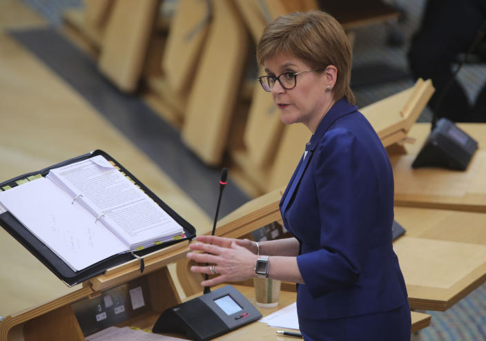 Scotland's First Minister Nicola Sturgeon during First Minster's Questions (FMQ's) in the debating chamber of the Scottish Parliament in Edinburgh.