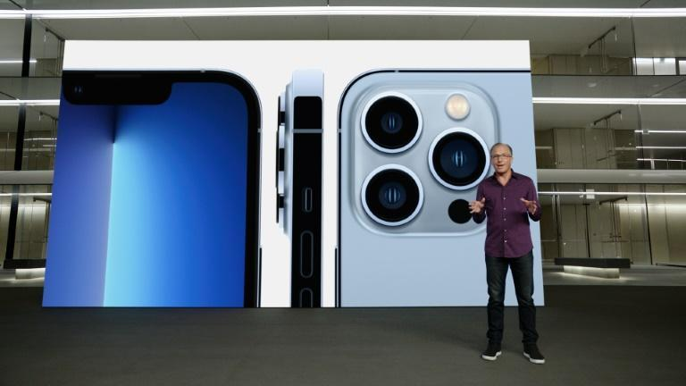 This handout image obtained September 14, 2021 courtesy of Apple Inc. shows Apple's senior vice president of Worldwide Marketing Greg Joswiak talking about the new iPhone 13 Pro (AFP/Handout)