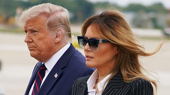 President Donald Trump and First Lady Melania Trump  upon arrival at Cleveland Hopkins International Airport in Cleveland, Ohio where Trump will be taking part in the first presidential debate on September 29, 2020. (Mandel Ngan/AFP via Getty Images)