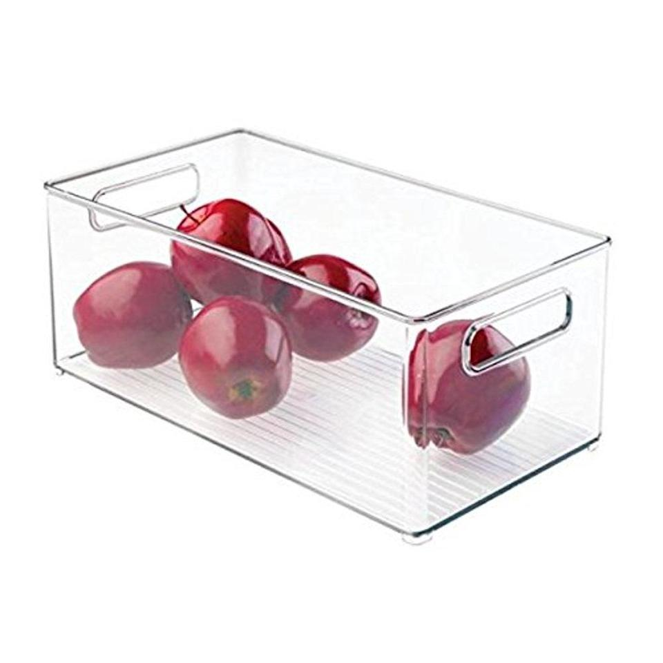 "<h2>Lifetime Appliance Parts Clear Organizer Storage Bin</h2><br>A minimalist storage bin to make fridge organizing super easy. <br><br><strong>Lifetime Appliance Parts</strong> Clear Organizer Storage Bin, $, available at <a href=""https://go.skimresources.com/?id=30283X879131&url=https%3A%2F%2Fwww.walmart.com%2Fip%2FClear-Organizer-Storage-Bin-with-Handle-for-Kitchen-I-Best-for-Refrigerators-Cabinets-Food-Pantry-10-x-5-x-6%2F607223578"" rel=""nofollow noopener"" target=""_blank"" data-ylk=""slk:Walmart"" class=""link rapid-noclick-resp"">Walmart</a>"