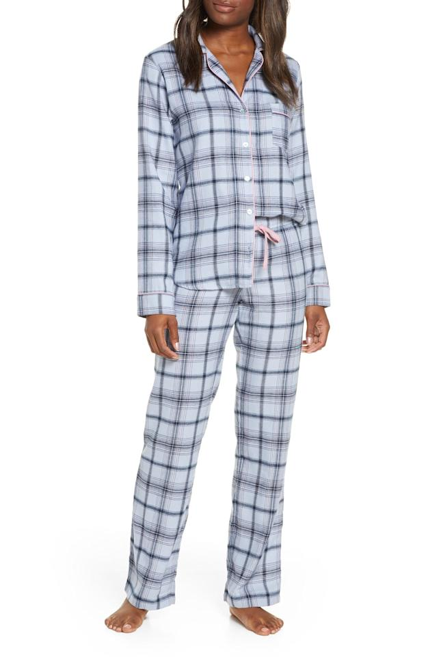 """<p>A steely blue and light pink color palette breathes new life into the classic plaid for this cozy brushed flannel set that you'll be aching to crawl into at the end of a long day.</p> <p><strong>$98</strong> (<a href=""""https://click.linksynergy.com/deeplink?id=MZ9491VLjxM&mid=1237&u1=allurebestpajamasets&murl=https%3A%2F%2Fshop.nordstrom.com%2Fs%2Fugg-raven-flannel-pajamas%2F5412772%3Forigin%3Dcategory-personalizedsort%26breadcrumb%3DHome%2FWomen%2FClothing%2FSleepwear%2C%2520Lounge%2520%26%2520Robes%26color%3Dfresh%2520air%2520plaid"""" rel=""""nofollow"""">Shop Now</a>)</p>"""