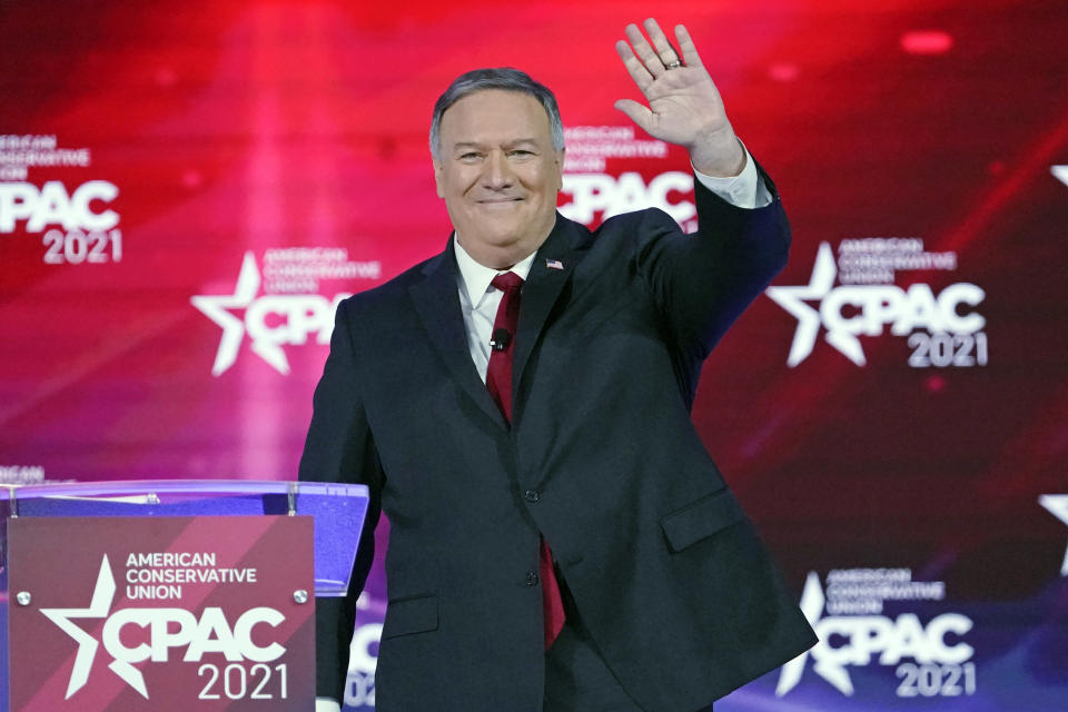 FILE - In this Feb. 27, 2021 file photo, former Secretary of State Mike Pompeo waves as he is introduced at the Conservative Political Action Conference in Orlando, Fla. Pompeo has become the latest former Trump administration official to launch a political action committee. (AP Photo/John Raoux, File)