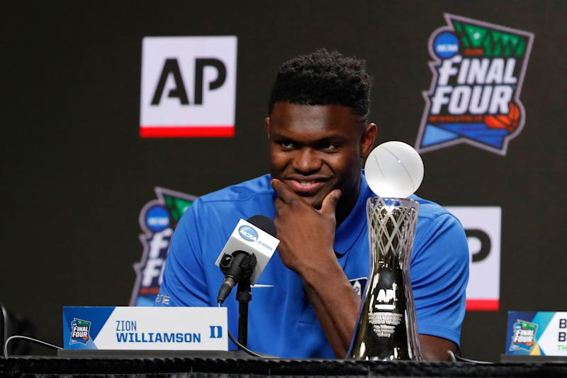 Duke freshman Zion Williamson answers questions at a news conference where he was awarded the Associated Press men's college basketball player of the year award at the Final Four NCAA college basketball tournament, Friday, April 5, 2019, in Minneapolis. (AP Photo/Charlie Neibergall)