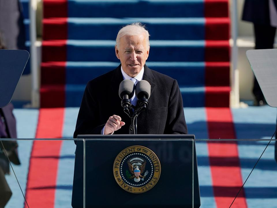 Biden delivers a speech after being sworn in as the 46th president of the US (POOL/AFP via Getty Images)