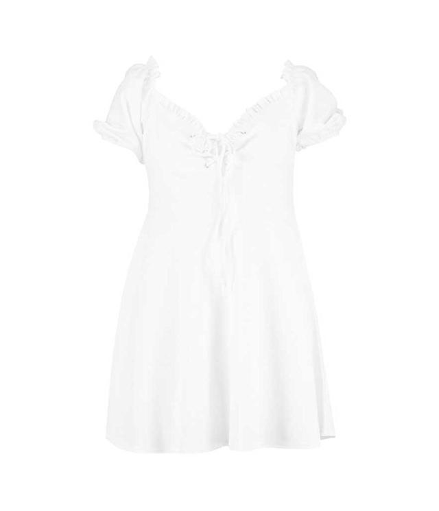 Frilly plus-size lace-up white dress. (Photo: Boohoo)