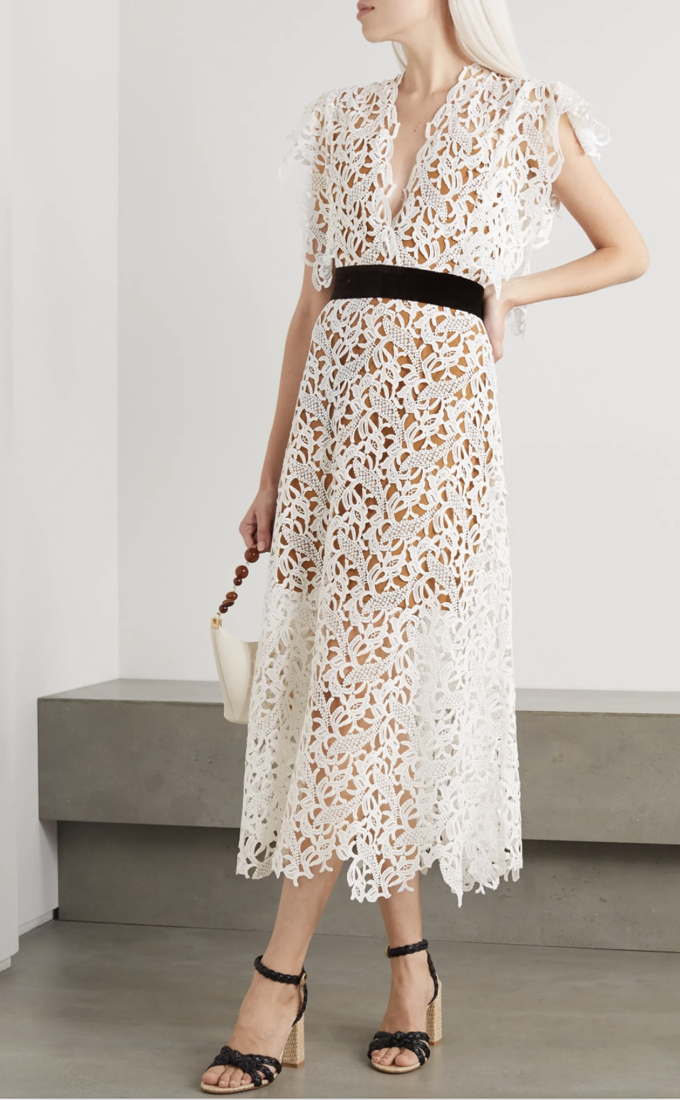 Artclub Portia velvet-trimmed cotton-lace and silk-organza midi dress. (PHOTO: Net-A-Porter)