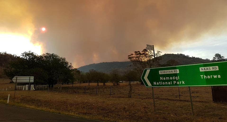 The fire, burning here on the 29th of January, has continued to grow in size. Source: AAP