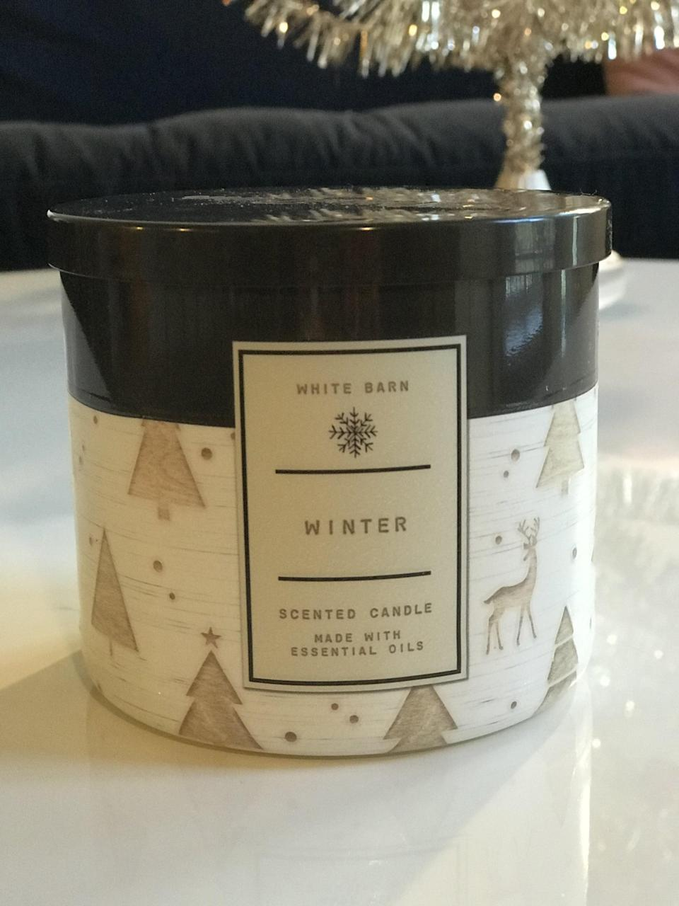 <p><span>Winter 3-Wick Candle</span> ($15, originally $25)</p> <p><strong>What It Smells Like:</strong> An irresistible combination of pine needles and cloves.</p>