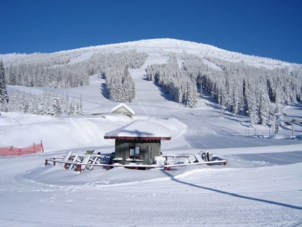 Mount Baldy Resort, located in B.C.'s south Okanagan, was closed Saturday as local authorities investigated a death. (Mount Baldy Ski Corporaton - image credit)