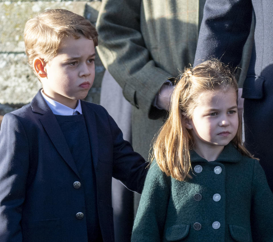 KING'S LYNN, ENGLAND - DECEMBER 25: Prince George of Cambridge and Princess Charlotte of Cambridge attend the Christmas Day Church service at Church of St Mary Magdalene on the Sandringham estate on December 25, 2019 in King's Lynn, United Kingdom. (Photo by UK Press Pool/UK Press via Getty Images)