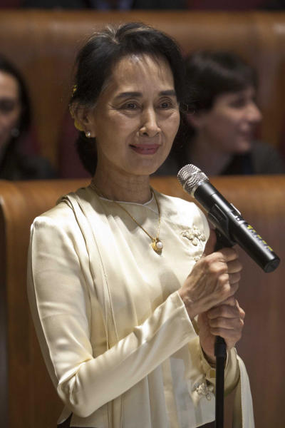 Aung San Suu Kyi, Myanmar's Nobel Peace Prize laureate and long-time political prisoner, speaks during a ceremony in which she received the honorary citizenship, in Rome, Sunday, Oct. 27, 2013. (AP Photo/Mauro Scrobogna, Lapresse) ITALY OUT