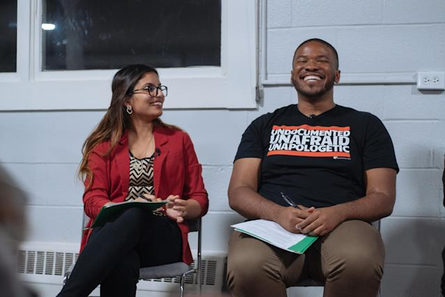 DACA recipients Saba Nafees and Jonathan Jayes-Green at the UndocuInnovation Festival in San Francisco (Daniel Clayton)