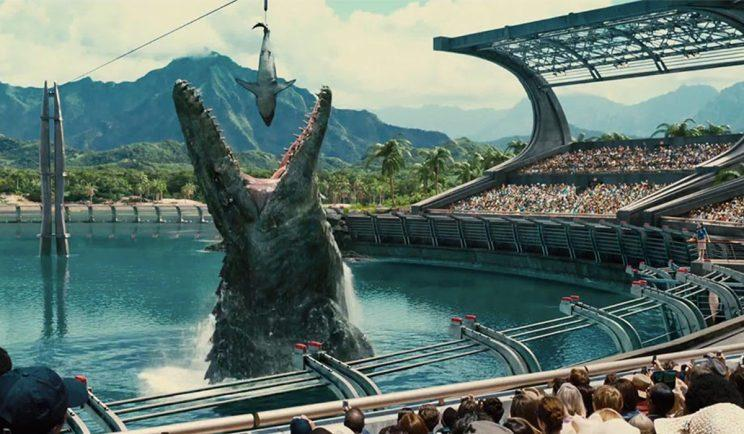 A Mosasaurus nabs a bite in Jurassic World - Credit: Universal Pictures