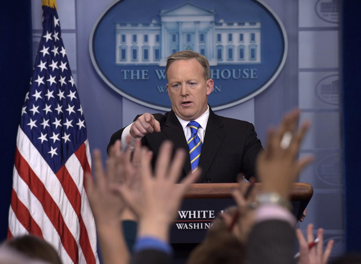 White House press secretary Sean Spicer calls on a reporter during the daily briefing at the White House on Jan. 24, 2017. Spicer answered questions about the Dakota Pipeline, infrastructure, jobs and other topics. (Photo: Susan Walsh/AP)