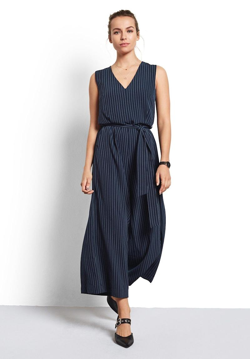 "Get it on <a href=""https://www.hush-uk.com/womenswear/daywear/trousers_jumpsuits/pinstripe_riviera_jumpsuit_midnight.htm"" target=""_blank"">Hush for $117</a>."