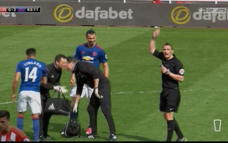 Lingard booked - Credit: Sky Sports