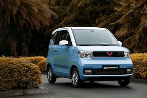 A Hongguang Mini EV made by SAIC-GM-Wuling Automobile. The three-door all-electric compact car can run for 170 kilometres on a single charge, retailing for 28,800 yuan. Photo: General Motors