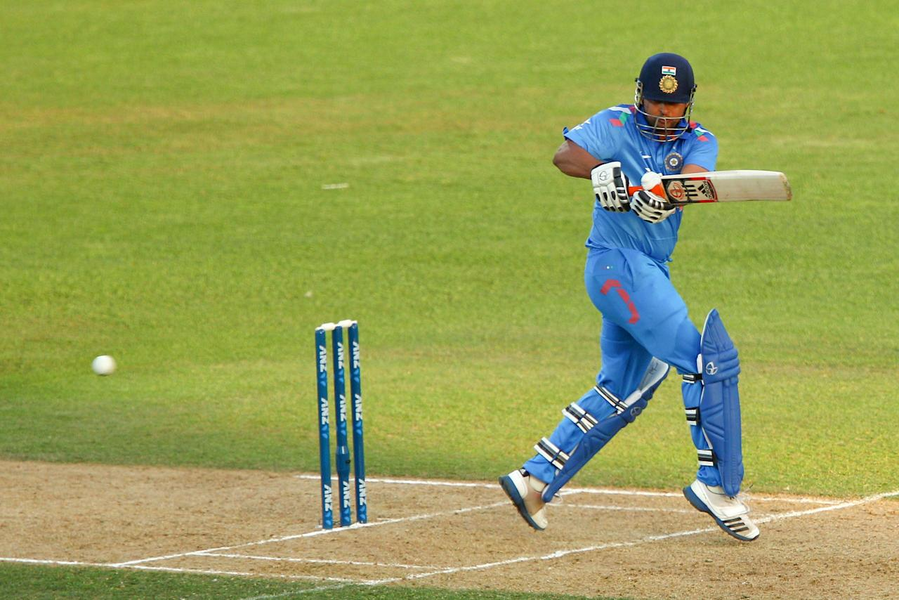 NAPIER, NEW ZEALAND - JANUARY 19:  Suresh Raina of India bats during the first One Day International match between New Zealand and India at McLean Park on January 19, 2014 in Napier, New Zealand.  (Photo by Hagen Hopkins/Getty Images)