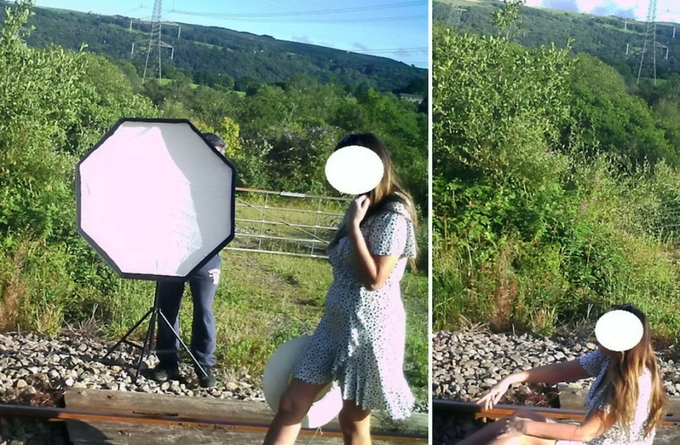 A woman was seen posing on live railways tracks for a photoshoot. (SWNS)