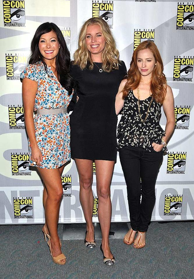 """Eastwick's"" trio of witchy women -- Lindsay Price, Rebecca Romijn, and Jamie Ray Newman -- cast their spells upon reporters and fans alike. John Shearer/<a href=""http://www.gettyimages.com/"" target=""new"">GettyImages.com</a> - July 25, 2009"