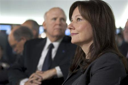 General Motors Executive Vice President, Global Product Development & Global Purchasing & Supply Chain Mary Barra (R) is pictured with Chairman and CEO Daniel Akerson in Detroit, Michigan in this January 10, 2012 handout photo. REUTERS/John F. Martin/General Motors/Handout via Reuters