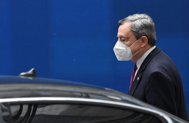 Italy's Prime Minister Mario Draghi departs on the second day of a European Union (EU) summit at The European Council Building in Brussels on June 25, 2021. - . (Photo by JOHN THYS / POOL / AFP) (Photo by JOHN THYS/POOL/AFP via Getty Images) (Photo: JOHN THYS via Getty Images)