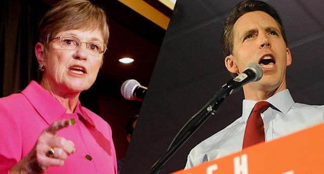 Pro-choice Democrat Governor-elect of Kansas Laura Kelly, and anti-abortion Missouri Republican Senator-elect Josh Hawley. (Photos: Thad Allton/The Topeka Capital-Journal via AP, Michael B. Thomas/Getty Images)