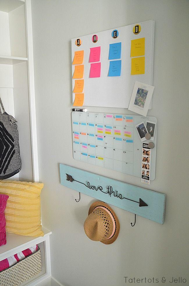 """<p>With the help of some colorful Post-It notes and a magnetic or wood board, you can keep everyone's schedules and to-do lists hanging where your whole family can see. </p><p><strong><em><a href=""""https://tatertotsandjello.com/diy-back-school-calendar-system/"""" rel=""""nofollow noopener"""" target=""""_blank"""" data-ylk=""""slk:Get the tutorial at Tatertots & Jello"""" class=""""link rapid-noclick-resp"""">Get the tutorial at Tatertots & Jello</a>.</em></strong></p><p><a class=""""link rapid-noclick-resp"""" href=""""https://www.amazon.com/17-5-11-5-Magnetic-Board-Bulletin/dp/B01KGS6M1Q?tag=syn-yahoo-20&ascsubtag=%5Bartid%7C10070.g.37133630%5Bsrc%7Cyahoo-us"""" rel=""""nofollow noopener"""" target=""""_blank"""" data-ylk=""""slk:SHOP MAGNET BOARD"""">SHOP MAGNET BOARD</a></p>"""