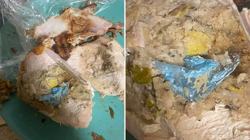 A man says he found a glove in the Turducken he purchased from Woolworths. Source: Facebook