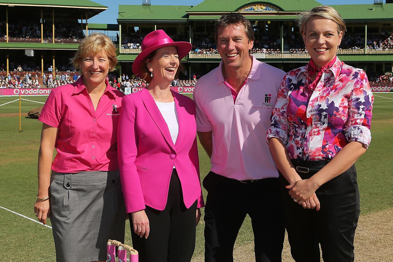 SYDNEY, AUSTRALIA - JANUARY 04:  (L-R) McGrath breast care nurse, Elaine Arnold, Australian Prime Minister, Julia Gillard, former Australian Test crickter, Glenn McGrath and Minister for Health, Tanya Plibersek share a joke prior to day two of the Third Test match between Australia and Sri Lanka at Sydney Cricket Ground on January 4, 2013 in Sydney, Australia. The Australian Government has committed a further $18.5 millon to the McGrath Foundation's specialist breast care nurses.  (Photo by Brendon Thorne/Getty Images)
