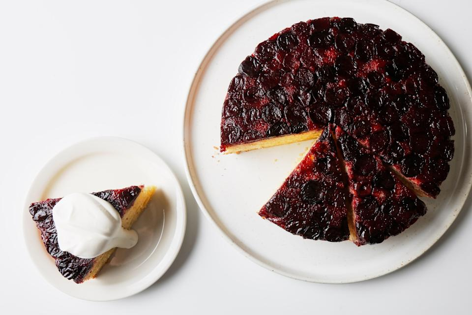 """This upside-down blueberry cake is a breeze for bakers of all levels. <a href=""""https://www.bonappetit.com/recipe/easy-one-bowl-upside-down-cake?mbid=synd_yahoo_rss"""" rel=""""nofollow noopener"""" target=""""_blank"""" data-ylk=""""slk:See recipe."""" class=""""link rapid-noclick-resp"""">See recipe.</a>"""