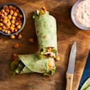 """<p>This vegetarian riff on a Buffalo chicken wrap adds the spicy Buffalo tang you love to crunchy roasted chickpeas all tucked into an easy-to-make wrap with carrot, celery and blue cheese. Make and take a wrap for a healthy packable lunch or serve them up on game day for a protein-packed snack everyone will devour. <a href=""""https://www.eatingwell.com/recipe/261765/roasted-buffalo-chickpea-wraps/"""" rel=""""nofollow noopener"""" target=""""_blank"""" data-ylk=""""slk:View Recipe"""" class=""""link rapid-noclick-resp"""">View Recipe</a></p>"""