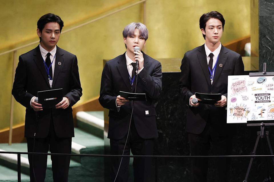 <p>Members of BTS come together on Sept. 20 to speak and perform at the Sustainable Development Goals meeting during the 76th session of the United Nations General Assembly at United Nations Headquarters in New York City.</p>