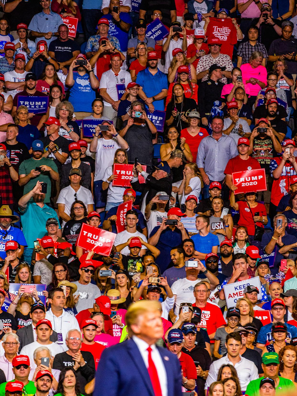 Trump officially kicks off his re-election campaign on June 18 at a rally in Orlando's Amway Center. | David Williams—Redux for TIME