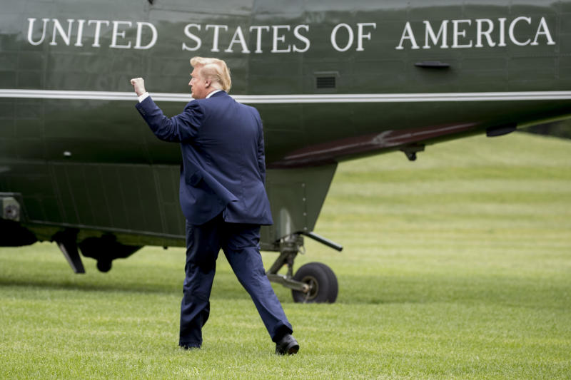 President Donald Trump walks on the South Lawn of the White House in Washington, Wednesday, May 8, 2019, to board Marine One for a short trip to Andrews Air Force Base, Md., to travel to Florida to visit with those affected by Hurricane Michael and attend a rally. (AP Photo/Andrew Harnik)