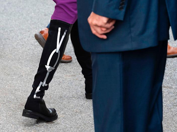 """A view of Dr. Jill Biden's """"vote"""" boots. <p class=""""copyright"""">Jim Watson/Getty Images</p>"""