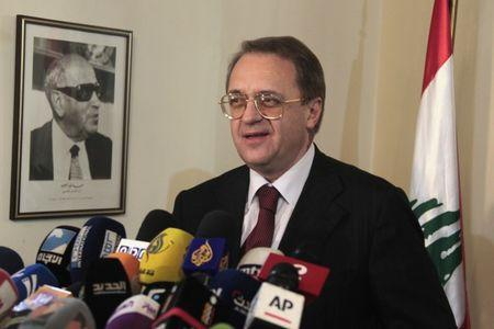 Russia's Deputy Foreign Minister Bogdanov talks during a news conference at the Foreign Ministry in Beirut