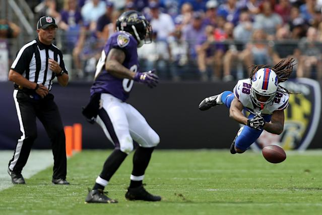 <p>Cornerback Ronald Darby #28 of the Buffalo Bills misses an interception in the second half of the Buffalo Bills vs. the Baltimore Ravens game at M&T Bank Stadium on September 11, 2016 in Baltimore, Maryland. (Photo by Patrick Smith/Getty Images) </p>