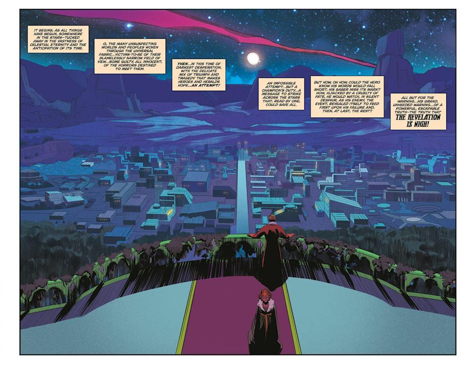 The city of Eternos, as seen in Masters of the Universe: Revelation from Dark Horse Comics.