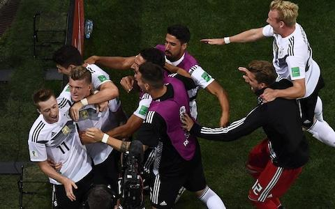 "If anything, Germany were even more chaotic than they had been against Mexico and the fact they were still very much in this game at the start of the second period was down to a combination of Swedish profligacy, Manuel Neuer and some questionable officiating. Don't mention the VAR. When Viktor Claesson sent Ola Toivonen scampering clear in the 12th minute, it set the tone for Swedish speed and success on the transition, and Germany's struggles to cope with it. The goal was just opening up for Toivonen as he shaped to shoot inside the penalty area when Jerome Boateng bundled the Sweden striker over through a combination of push and trip. The Video Assistant Referee (VAR) is employed precisely for these sort of moments but, to the outrage of everyone on the Sweden bench, not to mention Toivonen, play merely carried on. It was to Sweden's enormous credit then that they simply dug deeper and grew in strength, organisation and conviction. Sweden had made just six passes to Germany's 122 in the first 10 minutes and 19 to the world champions' 169 15 minutes in but the only statistic that will have concerned them was the one that signalled they were a goal in front. Germany vs Sweden And what a goal it was, one that showcased all the virtues of Janne Andersson's side. From the tireless Marcus Berg intercepting a stray pass from Toni Kroos to the probing Claesson stroking a clever cross into Toivonen to the Toulouse forward cushioning the ball on his chest and holding off the desperate lunge of Antonio Rudiger to delicately lift the ball over the advancing Neuer, it was a masterclass in how to strike hard and fast. Toivonen's finish was superb for Sweden's opening goal Credit: GETTY IMAGES The problem for Sweden is that they had enough chances after that to kill the game, but with opportunities for first Claesson and then Berg to extend the lead going begging, the door remained ajar for a German side who simply could not be as poor after the interval as they had been before it. Still, the timing of Germany's equaliser was a real kick in the teeth for Sweden. They had defended doggedly, riding their luck in the second minute when Julian Draxler blasted a shot straight at a Swedish body after Timo Werner had capitalised on a mistake by Andreas Granqvist and Robin Olsen also made a good save from Ilkay Gundogan's deflected shot. Germany vs Sweden shots on goal But the Swedes had been pretty flawless. Reus's goal, then, would provide a serious test of their mettle. A low cross from the left by Werner brushed the foot of Mario Gomez, on at half time for Draxler, and rolled into the path of Reus, who stabbed the ball home ahead of a despairing Ludwig Augustinsson. How Sweden must have been rueing those missed chances at that point. Berg could not have done much better with his powerful angled header from Seb Larsson's free-kick, stealing ahead of Kroos, but Neuer dived full stretch to his right to tip the ball round a post. More frustrating was Claesson's squandered opportunity. Germany had been undone once again on the transition. Emil Forsberg found himself in acres of space down the left channel and bent a wonderful cross with the outside of his right boot past Boateng and Rudiger and into Claesson, who made the mistake of trying to cut inside Jonas Hector rather than shoot first time. Toni Kroos celebrates his goal Credit: AP Germany had lost Sebastian Rudy after just half an hour when he took an accidental boot to the face from Toivonen that resulted in blood splattering from his nose. This, though, was a fesity game, played right on the edge, with tackles flying around and no inch given. Mikael Lustig and Werner squared up a heavy challenge by the Sweden right back and next it was Albin Ekdal and Thomas Muller's turn to start pushing and shoving each other. A red card seemed likely at some stage and so it materialised in the 82nd minute when Boateng was dismissed for a second yellow card after scything through Berg following an earlier handball. Germany were firmly in the ascendency and their numerical disadvantage would not change that. It had been a siege at times, with Low effectively playing 2-2-6 as they pushed for a winner. Average touch positions (0 min) Joshua Kimmich put a perfect cross on a plate for Reus on the hour but the Borussia Dortmund forward could not make contact as he tried a back heel and the chance went. Later Kroos plonked a fine cross on the head of Gomez but Olsen's save was outstanding. Then at the death Julian Brandt, a substitute, crashed a shot against a post. It was thrilling. Germany live to fight another day but their fate is out of their hands. Then at the death Julian Brandt, a substitute, crashed a shot against a post. Germany must have thought their chance had gone there and then. Kroos, though, had other ideas. What a game. What a night. 9:21PM Some reading ahead of tomorrow How England can get the job done against physical Panama We'll see you then for our live coverage of all the big games, including England's attempts to beat Panama. 9:10PM ITV pundits now laying into Boateng Patrice Evra ""I don't wanna go harsh on him but he had a really bad game. When he was sent off, Germany played better."" Roy Keane (seriously, what has happened to him?) ""They spoke about him having 65 pairs of shoes so he can't be right upstairs"" Everyone laughs. Personally, I can see where the Boateng criticism comes from but he's a key component of Low's attempts to play positional football high up the pitch. He's meant to be a play-maker in this side and if the things he'd attempted actually worked, would have looked like a total star. Instead he was full of mistakes... but you will make mistakes if you're experimenting. The obvious retort to that is he's a defender and needs to stay safe. Gary Neville says: ""It's like they're trying to do a little bit of what Pep Guardiola does and what Germany do. At Man City a full-back comes into midfield to prevent the counter-attack but their's are wide. It's like they're stuck between two tactics."" I like that Boateng and Germany are trying something a little different. If it works it'll keep opposition teams pinned back but at the moment they are just simply too offensive and are leaving massive gaps. That brings us back to the old chess dilemma though. The thinking is that if you bring an attacking mentality to the game you will dominate as you restrict the counter-attack options of your opponent. I could go into this for hours, so let's stop. It's safe to say that Boateng was ropey/[deleted word] tonight. And he deserved that red card! 9:04PM Kroos' goal 9:03PM Henrik Larsson is not happy ""Stand on your feet. That's the first thing you learn!"" says Henrik about Durmaz's fatal foul. 9:02PM This game has broken Roy Keane ""Brilliant. I really enjoyed the game. My condolences. We've criticised them, we've slagged Germany off, they were awful but they stuck at it, brilliant drama - I loved it."" 9:01PM Celebrations for that goal Credit: AFP There was a bit of a ruckus on the touchline once Kroos' goal went in with Sweden's manager particularly upset about something. 8:59PM What a finish That was utterly brilliant. Sweden defended heroically but just couldn't hang on and to be fair to them, that stunning Kroos goal from a free-kick was the kind you just can't do anything about. Sheer class. Germany vs Sweden shots on goal 8:55PM FULL TIME Wow. I cannot imagine how gutted Sweden fans feel (I can, I'm Scottish) but that is a simply breathtaking way to win. Never write off the Germans! 8:54PM GOL GOL GOL GOL GOL GOOOOOOAAAAAALLLL Germany 2 Sweden 1 Germany 2 - 1 Sweden (Toni Kroos, 90 + 5 min) That's unbelievable! Kroos touches the free-kick, Reus stops it and Kroos bends a brilliant, powerful, bending shot into the top corner! That is absolutely unbelievable. Goal: Germany ( 90 + 5 min ) 8:53PM GOOOOOOOOOOOOOOOOAAAAAAAAALLLLLLLL! Germany 2 Sweden 1 sakjhbsadakjhdsa dsadsaWHGWATAJHAHA WHGAAT A GOAL!!!!! INCREDIBLE FROM GERMANY! 8:52PM 90 mins+5 - Germany 1 Sweden 1 Last chance for Germany. They go from goalkeeper to Sweden's half. Werner takes on his man... and wins a free-kick! This will be the last passage of play of the game. Kroos and Reus are over the ball. These set pieces haven't worked so far... 8:50PM 90 mins+3 - Germany 1 Sweden 1 GERMANY HIT THE POST! WHAT A STRIKE! Brandt absolutely launches an effort from 20 yards and it pings back off the post and lands at the feet of Werner. But he can only turn it over the bar! He was offside anyway. Sweden can break! They have men over here - Germany are in trouble! The linesman's flag has saved them. Two minutes left of this one for Germany to find a winner. Or Sweden! 8:49PM 90 mins+2 - Germany 1 Sweden 1 Olsen punches away when he could catch. Germany have everyone inside the Sweden half, the deepest player is Rudiger and he's 20 yards from the halfway line! Rudiger goes to ground way too easily (for my liking) and wins a cheap free-kick at half way as Sweden keep the ball for a bit. Germany win a corner. It's exciiiiiiting!!! 8:47PM 90 mins - Germany 1 Sweden 1 Muller is wide right, tries to hit a low cross into the box and ends up punting it out for a throw-in. Awful. Brandt is fouled wide left - this is a dangerous position for a set piece, or it would be if Germany were able to win aerial battles against a strong, tall Sweden side. Sweden sub Berg for Thelin. 8:45PM 88 mins - Germany 1 Sweden 1 Hector off, Brandt on. That means Germany have Kimmich - who has been a right winger all game - and Rudiger left defending. Kroos has been acting as a third centre-back all night so he'll be involved. Sweden are defending so well here, there's just no space for Germany to exploit. The ball is out on the left, crossed in and GOMEZ IS THERE! WHAT A SAVE BY OLSEN! A point blank save by the Sweden goalkeeper denies Germany! 8:44PM 86 mins - Germany 1 Sweden 1 And now there's confirmation that the referee was waiting for the victim of Boateng's foul (which wasn't overly or at all malicious by the way) to get to his feet before showing Boateng the second yellow. Buying some time to think seems like a sensible approach. It's still all Germany even with 10 men. 8:42PM 84 mins - Germany 1 Sweden 1 SWEDEN GO CLOSE! This game is amazing. The ball is put into the area but Germany manage to survive - somehow - and Sweden have a corner. It goes out for a goal kick. VAR can't intervene for yellow card decisions but assistant referees can... and it seems like one of those may well have told the referee that Boateng should have been booked for that offence. Replays seem to show that's the right call anyway! 8:40PM RED CARD OOOOHHHH OR HAS HE? The referee changes his mind - VAR? - and Boateng has been sent off for a second yellow! 8:39PM 82 mins - Germany 1 Sweden 1 Germany's forwards are just standing occupying these positions as the ball is moved around the pitch. Werner then finds space inside the box and meets a cross from wide right... but he's missed it. That is a HUGE chance. Oooooohhhh Boateng has gone flying into a tackle from behind and that should be a yellow! The referee says no. 8:37PM 80 mins - Germany 1 Sweden 1 Germany vs Sweden shots on goal What do Germany have left? They have 10 minutes to conjure something and Sweden must be knackered defending this all game long. 8:36PM 78 mins - Germany 1 Sweden 1 Sweden take their time over a goal kick, hump it long and Berg fouls Kimmich near his own box. John Guidetti comes on for Toivonen. 8:33PM 76 mins - Germany 1 Sweden 1 Durmaz has an instant impact, winning a corner with his first involvement. The corner is swung in, some players go down in the box and a shot from distance is well saved by Neuer. 8:31PM 74 mins - Germany 1 Sweden 1 Sweden are finding it difficult to play their way out from the back but Germany are so keen to win the ball back that they keep conceding fouls and handing Sweden much needed time. Claesson is subbed for Durmaz. 8:30PM 72 mins - Germany 1 Sweden 1 Credit: REUTERS How long until this man makes an appearance? Germany might not need him! Werner is in on the left, he gets to the line and fires across goal but nobody can turn it in! Sweden survive... Toivonen handballs 35 yards out. Kroos stands over the free-kick. It goes wide, Kimmich has to pass back and Gundogan crosses. Reus has a hopeful shot blocked, Germany start from the back after a throw-in. 8:28PM 71 mins - Germany 1 Sweden 1 Bad mistake by Kroos. He passes across the pitch and it's easily intercepted but Sweden can't take advantage and Kimmich catches up quickly. The ball is soon in Neuer's gloves and he sends Germany on their way. They took too long to put passes together and Sweden can get back into a defensive shape. Forsberg does brilliantly to hold the ball up and win a free-kick. Boateng is booked for the fouk. 8:26PM 69 mins - Germany 1 Sweden 1 Here come Germ any again. Werner wide left, Kroos takes it on and puts the ball to the edge of the box. It comes back, he chips across the box and Kimmich crosses... and it's cleared. It's all Germany. Boateng chips into the area and GOMEZ IS THERE! HE'S MISSED FROM SIX YARDS! That's a dreadful miss! The linesman says he's offside but he isn't - and had he scored that should have stood. 8:24PM 67 mins - Germany 1 Sweden 1 Olsen punches a cross from right away, Germany try to keep up the pressure but eventually Sweden finally get the ball and try to just keep it for a while. Possession: Germany vs Sweden 8:23PM 65 mins - Germany 1 Sweden 1 The ball drops for Kroos on the edge of the area, he sets up the shot and hits it... but a sliding tackle comes flying in and gives Germany a corner. Kroos takes, it's headed away and Sweden boot the ball up the pitch. Neuer is 40 yards off his line again to start the passing move. 8:21PM 63 mins - Germany 1 Sweden 1 An ITV stat tells me that these are the players to have made the most key passes tonight: Muller 11 Kimmich 9 Boateng 7 Neuer is 40 yards off his line to recyle play and start another Germany attack. And Kroos has it on the edge of the area, fakes to shoot but his actual shot is then blocked. 8:19PM 61 mins - Germany 1 Sweden 1 Look at the difference in the passing! Sweden all long, Germany tippy-tappy across the middle. That's starting to change a little bit now. Germany vs Sweden And Reus has just gone close to turning a low cross from Kimmich into the goal! Reus goes for a back heel flick - like Kanu - but kicks thin air and tumbles to the floor. That should have been a goal. 8:17PM 59 mins - Germany 1 Sweden 1 Gomez sprints down the left as Germany have a little chance to counter-attack but Sweden get back and shut down the danger. Boateng tries to follow up and brings the ball towards the box - like Beckenbauer - but his forward pass is poor and easily intercepted. Sweden go long but Rudiger reads the play well and wins the header. 8:14PM 57 mins - Germany 1 Sweden 1 Gundogan goes on a run but does too much and Sweden can break now. Boateng sweeps up the danger and Germany are at half way within a couple of seconds. It's a much higher tempo, forward thinking and Werner is causing problems on the left wing. He beats his man and finds Hector in the penalty area! He controls... shoots and the goalkeeper saves. Low does some windmill gestures on the sidelines, trying to get his players all fired up. 8:12PM 55 mins - Germany 1 Sweden 1 Credit: GETTY IMAGES Germany are finding space in behind to run into now. That's what direct passing will do for you. 8:11PM 53 mins - Germany 1 Sweden 1 Muller is really wound up and has a little battle with Ekdal off the ball, while Werner is obstructed and wins a free-kick wide left. Germany pass patiently but there's bit more zip and purpose to it. Sweden win a goal kick. Olsen takes his time. 8:08PM 51 mins - Germany 1 Sweden 1 Germany have a free-kick wide right of the Sweden box. Rudiger and Boateng are getting feisty with Toivonen, Kroos crosses in and MULLER MEETS IT! But his header is wide and slams off the microphone beside the goal. Miss: Germany 1 - 1 Sweden (Thomas Müller, 51 min) Germany are at it now. 8:07PM 49 mins - Germany 1 Sweden 1 Oh my word it's nearly 2-1! Kroos takes a shot from 20 yards and it takes a massive deflection. The goalkeeper is beaten but the ball flies wide of the far post! Germany are all over Sweden here, they look shaky, on the ropes. 8:05PM GOOOOOOOOOOOAAAAAAAAAAAALLLLLLL! GERMANY ARE BACK IN BUSINESS! Germany 1 - 1 Sweden (Marco Reus, 48 min) Well whatever he said at half time has worked! Werner is out on the left hand side, beats his man and crosses into the box. Everyone misses the ball except Reus who puts a knee on the ball to turn it into the goal. Game on! 8:05PM 47 mins - Germany 0 Sweden 1 You can already see what Sweden's plan is in this half. Defend deep and take advantage of Germany having so few players - and none with any pace - making risky passes at half way. 8:02PM KICK OFF 2 We're back. Mario Gomez is warmed up and ready to come on, giving Germany an actual focal point for the 20million crosses they're going to ping into the area this half. Remember, if Germany lose, they are OUT of the World Cup. Gomez replaces Draxler. This might bring an end to probing and lead to more direct passing. 7:59PM Stay up to date with all things World Cup If you haven't signed up for our Whatsapp updates yet, I recommend you do. It's great having things sent to your phone: World Cup whatsapp promo 7:58PM Solid joke Pougatch has won joke of the night as a motorbike can be heard in the background of the ITV studio. ""I'm not sure what that motorbike is but I wonder if it's Joachim Low making a swift getaway"". This result would serve Low right for wearing a t-shirt tbf. 7:56PM What's going wrong? Germany are pushing high up the pitch so it looks like this: The goal came as Kroos gave a pass away to Toivonen and you can see the space that's going to be left if Germany do turnover possession. Straight away they have to chase back and are vulnerable because they are in transition. Sweden attack down one wing quickly and the left midfielder sprints to join in down the left. They don't over commit but because it's a quick counter they don't need to. Gary Neville is laying into Germany's defence: ""The centre-backs have been a joke. Boateng thinks he's Beckenbauer! He's played under Pep and thinks he's Beckehnbauer. He's got delusions of grandeur, he really does, wandering about."" 7:51PM Half-time stats Possession: Germany vs Sweden It's been all Germany but Sweden's attacks are much more potent. Germany are playing like it's a Legends friendly game and they're going to sub on Jurgen Klinsmann and Lothar Matthaus at half time... Average touch positions (half time) Boateng is Germany's main playmaker again. 7:48PM HALF TIME Magnificent from Sweden. They've defended deep, stayed disciplined and waited to take their chance to counter-attack. When they've been able to they've looked really dangerous and Germany are teetering on the edge of an incredibly early World Cup exit. Joachim Low needs to change things and get his team revved up. What a job he has on his hands now. 7:46PM 45 mins+2 - Germany 0 Sweden 1 That's smart from Boateng. He's in the right halfspace near the box, cuts onto his left and tries an early shot to the near post. The goalkeeper panics and races over to stop it but the shot is just wide. Out: Germany 0 - 1 Sweden (Jérôme Boateng, 45 min) 7:45PM 45 mins - Germany 0 Sweden 1 Germany are all over the place. They keep letting Sweden in on the counter-attack and Claesson is ridiculously close to cutting inside onto his left foot and getting a shot away from 10 yards. It's a mess here for Germany! 7:42PM 43 mins - Germany 0 Sweden 1 Forget Neymar's rainbow flick yesterday or any of the flip-flaps we've seen! That little bit of skill by Augustinsson on the left is amazing and it's beaten three Germany players at once. He pretends to drag the ball inside then stops it, rolls, then drag-scoops it between two players. So good. 7:40PM 41 mins - Germany 0 Sweden 1 Big chance for Germany and they've wasted it! Gundogan takes a shot, Olsen saves and Muller is beaten to the rebound.. then goes crying to the referee about some sort of foul. He is incorrect. 7:39PM 39 mins - Germany 0 Sweden 1 Credit: GETTY IMAGES What a photograph that is! Perfectly captures the fear in Neuer's eyes and the arc of the ball. Credit: GETTY IMAGES 7:37PM 37 mins - Germany 0 Sweden 1 Sweden are enjoying more of the ball now and are doing so higher up the pitch. What is wrong with this Germany team? This isn't working at the moment. 7:35PM 35 mins - Germany 0 Sweden 1 What a noise when that goal went in. The Sweden fans are bouncing in the stands, Germany are rocked. 7:32PM GOOOOOOOOAAAAAAAAAAAAALLLLLLLL! SWEDEN HAVE TAKEN THE LEAD! Germany 0 - 1 Sweden (Ola Toivonen, 32 min) What a brilliant finish this is. Sweden have the ball on the right and a fantastic pass into the box is controlled superbly by Toivonen, who shields the ball and then lobs Neuer with a perfect finish. What a goal. And what a shock this could be! 7:32PM 32 mins - Germany 0 Sweden 0 Rudy is furious that he's not being allowed back on. But that injury looked nasty and is technically a head injury. It's unclear whether the doctor has said he can't continue or if the change has been brought about because they don't have a replacement shirt for him... Gundogan is on in his place. 7:30PM 31 mins - Germany 0 Sweden 0 Rudy is still standing shirtless on the sidelines. Low appears to be losing his patience. He needs a new top because the other one is covered in blood but he's also having a member of staff putting ice on the back of his neck. Germany might make a substitution here. 7:29PM 29 mins - Germany 0 Sweden 0 Sweden are passing around Germany's half! [puts on party hat] They're taking advantage of Germany being down to 10 men at the moment and Hector has to head at the back post to get a cross behind. Corner. The big defenders are forward for it. Werner heads away, Sweden keep the ball. 7:27PM 27 mins - Germany 0 Sweden 0 That looks like a burst lip and a whack to the nose, which is still bleeding. Rudy goes to change his shirt but he'll need his nose seen to before he can come on. Germany are slowly passing around their own half while he's seen to. Sweden aren't even considering pressing higher to try and win the ball off him. 7:25PM 25 mins - Germany 0 Sweden 0 Berg goes tumbling as Boateng closes in Credit: AFP Rudy is bleeding a lot out of his face and Sweden are concerned about him. Toivonen's caught him in the nose with his heel. Ow. He's down receiving treatment but that will have rattled him. 7:23PM 23 mins - Germany 0 Sweden 0 Germany really need to score here before this turns into a very frustrating night. Sweden could defend like this all night. 7:21PM 21 mins - Germany 0 Sweden 0 It's just Germany attacking, Sweden defending. No goals, no shots. 7:19PM 19 mins - Germany 0 Sweden 0 Possession: Germany vs Sweden It's kinda one sided... but Sweden look so dangerous on the counter-attack! Possession means nothing if you can't do anything with it. 7:17PM 17 mins - Germany 0 Sweden 0 Lee Dixon raises an interesting point. ""If there's nobody there, he gets a shot away"" and because Boateng puts his foot in, he doesn't. Still, a team of referees have decided that's not a foul having reviewed it so I'm inclined to side with their opinion. Germany are back in the Sweden final third now, switching play, looking for an opening... but there are too many players heavily marked. 7:14PM 15 mins - Germany 0 Sweden 0 Boateng's attempted tackle sends Berg over... but they're both running at pace and it doesn't look like a penalty to me. And the referee team have concluded that it isn't a foul. Controversy! 7:13PM 13 mins - Germany 0 Sweden 0 Boateng never hides away from the ball and always seems to be in a decent position to help his side keep the passes going. But he's given it away! SWEDEN ARE AWAY! It's Mexico all over again... here goes the striker, Berg's behind the defence, Boateng can't get close and he's one on one with the goalkeeper! He goes down! Is that a penalty? Play continues but VAR will review it. Attempt Saved: Germany 0 - 0 Sweden (Marcus Berg, 12 min) Germany have really gotten away with that! 7:11PM 11 mins - Germany 0 Sweden 0 Germany have made 122 passes so far. Sweden six. Germany vs Sweden 7:09PM 10 mins - Germany 0 Sweden 0 Big chance Germany! Kimmich is the creator again, having the ball wide right and playing a through-pass ahead of Reus' run. It's perfectly weighted, Reus is in behind but his cutback is knocked behind for a corner. Germany pass patiently around the Sweden half looking for an opening. 7:08PM 8 mins - Germany 0 Sweden 0 But now we see the counter-attack! Germany have made the same mistake early on, two players racing to try and intercept but losing out and suddenly Sweden area away. Forsberg has two chasing defenders, goes past one but is then crowded out on the edge of the Germany box. Germany attack again, Draxler is down the left and he pokes a pass across the box which is just wide of the far post. 7:06PM 6 mins - Germany 0 Sweden 0 It looks like Rudiger is playing as sweeper, Boateng and Hector taking up positions either side of him when Germany have possession. Germany are already all over Sweden. This could be a long night. 7:03PM 4 mins - Germany 0 Sweden 0 Germany are passing the ball around the final third nicely, Kimmich pulling out wide right... and he hits a cross in that comes off a defender and then lands with Werner! He's inside the six yard box, crosses low and DRAXLER MUST SCORE! Blocked! How has he missed?! Sweden have really gone into defensive mode here. Is it not too early to do that? 7:02PM 2 mins - Germany 0 Sweden 0 Germany get the ball straight away and calmly play out from the back. Sure enough, Sweden immediately drop back into their deep 4-4-2 shape. 7:00PM KICK OFF National anthems are done, the players are ready. Here we go! Sweden start the match. 6:55PM Bad news for Sweden fans Alles Klar, Germany will win, count on it..... the hoff has spoken ✌�� pic.twitter.com/LdvT9cgIn1— David Hasselhoff (@DavidHasselhoff) June 23, 2018 6:53PM Neuer will be involved tonight But probably not in his actual goalmouth, as I (hopefully) explain in the above video! 6:49PM The lineups This is what the game will look like on paper (and on your screen) but in attack it'll be very different. Gary Neville has just said it's boring to play against Sweden because they slow the game down with such a defensive approach to it. This what the game will actually look like. The key differences are that Sweden won't leave two players high either side of the striker to allow counter-attacks and - crucially - Rudy won't go missing from that holding position like Khedira did. 6:43PM Some of you might not get this Daniel Johnston during the ad break then Joy Division as part of the football coverage. Shame to see ITV pandering to Partick Thistle fans like this.— Oldfirmfacts (@Oldfirmfacts1) June 23, 2018 6:35PM ITV pundits on chances of a Sweden win Patrice Evra If he change two players at the back he's really not happy with his defence. When you change two... normally you never change your backline. Henrik Larsson I don't think they're nervous because they're Germany. There's a lot of hope from my point of view, if we can manage to get a draw that would be fantastic. If we win, it would be a miracle. Germany's going to have the ball a lot. It's important for us to play when we get possession and maybe we can do something from a set piece. 6:26PM Lovely photos There are heaps of great pictures that have been taken during this World Cup and we have compiled a bunch of them into this very pleasant gallery: Russia World Cup in pictures: Best photos of teams, games and players 6:16PM Mexico beat South Korea.... Which means Germany will be out of the World Cup if they lose this. No pressure, lads. 6:06PM What went wrong for Germany last time Credit: FIFA Too many players charged up the pitch in their defeat to Mexico, three Mexican forwards stayed high to wait for counter-attacks and Germany were duly punished. The key changes are Ozil, who provided absolutely no midfield cover in defence and didn't offer enough in attack, and Khedira, who was supposed to play as a six and shield the defence, link play and act as a pivot in midfield. Rudy will absolutely fix the latter problem, Reus will be a more dynamic, hustle-and-bustle replacement for Ozil. Kimmich and Hector will still fly up the wings but as long as Rudy holds his position and doesn't get too separated from Kroos they'll have some cover. Sweden won't be able to counter-attack in quite the same way Mexico did and this will be a different game. The big challenge will be creating chances in the final third against a really well drilled Swedish defence while ensuring they don't over commit like we saw against Mexico. 6:01PM Sweden team Sweden starting XI (4-4-2) Olsen; Lustig, Lindelof, Granqvist, Augustinsson; Larsson, Ekdal, Claesson, Forsberg; Toivonen, Berg 5:54PM Who's going to win? That's a signal of intent from Joachim Low and it'll be really interesting to see how the team reacts. It's also notable that Mats Hummels - who was so critical of his teammates after the game - has been benched for Rudiger (although Low did say this was due to illness/injury). Sweden are a strong team but lack an individual star. I can see their game plan being to contain and frustrate and attack quickly down the wings - Kimmich and Hector will leave space in behind to take advantage of. World Cup 2018 Simulator Single Game 5:46PM Germany team news - Ozil and Khedira are dropped! Unsere Startelf �������� 1 Neuer (C) 3 Hector 7 Draxler 8 Kroos 9 Werner 11 Reus 13 Müller 16 Rüdiger 17 Boateng 18 Kimmich 19 Rudy #ZSMMN#DieMannschaft#WM2018pic.twitter.com/7IPJUyTR9v— Die Mannschaft (@DFB_Team) June 23, 2018 Well well well. The rumours were true! Marco Reus and Jonas Hector are in and Sebastian Rudy replaces Khedira. Low hasn't held back here. 5:40PM Where's the game today? World Cup 2018 stadium: Fisht Stadium The delightfully named Fisht stadium, which as we all know, is in Sochi. This is the venue in which Germany must win to avoid one of the all time biggest World Cup upsets. 5:31PM Big team news... Exclusive: @MesutOzil1088 and @SamiKhedira are not in the starting line-up @SPORTBILD@BILD_Sport— Christian Falk (@cfbayern) June 23, 2018 I'm not sure how valid this is but the source is fairly solid and Mesut Ozil was awful in the last game. Khedira was caught out of position way too often as well. 5:30PM Hello! Welcome to our liveblog for the last game of day 10 of the 2018 World Cup! It's Germany vs Sweden and remarkably it's really difficult to call who's going to win it. Sweden have three points thanks to their narrow win over South Korea (and with the help of VAR) while Germany were torn apart by Mexico, playing a suicidal high line and sending full-backs miles up the pitch only to suffer for it. Joachim Low's team have been out of sorts for quite a time now and there have been rallying calls from the players to address it. ""We're under real pressure now,"" said Toni Kroos. ""We have to get six points from the next games. ""We didn't play well enough. Overall, we had our chances, but we weren't able to score. ""We lost the ball up front far too easily and Mexico had always two or three people up front, who we failed to block efficiently."" World Cup 2018 tactics: Why Germany's goalkeeper is key to how they attack Mats Hummels wasn't quite so nice about it: ""Mexico deserved the win – our cover was often not good and we were left many times with Jérôme [Boateng] and myself at the back,"" he said. ""If seven of eight players are attacking then it's clear our attacking power is greater. But that's something that I have often talked about internally. It doesn't always bear fruit. ""A wake-up call is too late. We now must win two games, otherwise that is that with the World Cup. I don't really understand why we played like we played because, really, we already had our wake-up call."" Credit: FIFA Supporters of both teams are having a lovely old time in the Russia sun (though those clouds look ominous) and team news will be with us really soon. When that happens we can try and figure out how both teams plan to approach this but you can bet Sweden will be a 4-4-2, low block and focus play down the wings, while Germany will be keen to AVENGE their opening game defeat. It could be a cracker, it could also be a frustrating 90 minutes for the Germans. Only time will tell! And that time is... soon."